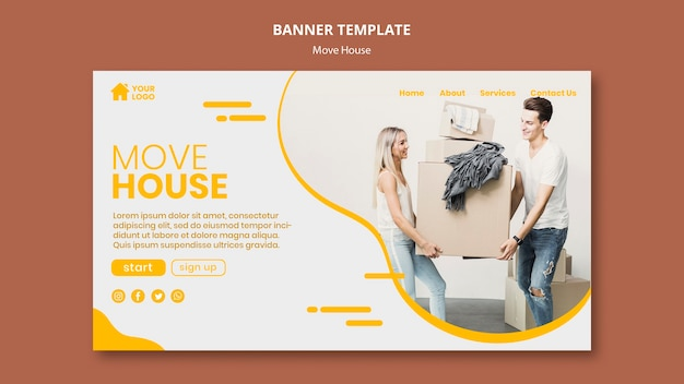 Banner for house moving company Free Psd