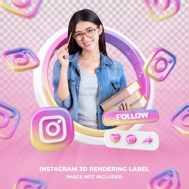Banner icon profile on instagram 3d rendering label isolated