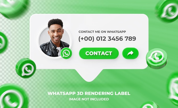 Banner icon profile on whatsapp 3d rendering label template