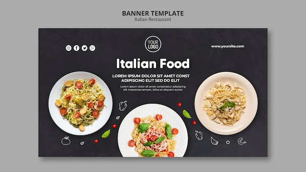 Banner italian restaurant template Free Psd
