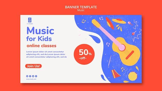 Modello di piattaforma musicale per bambini banner Psd Gratuite