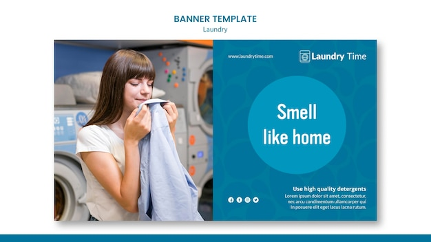 Banner laundry service template Free Psd