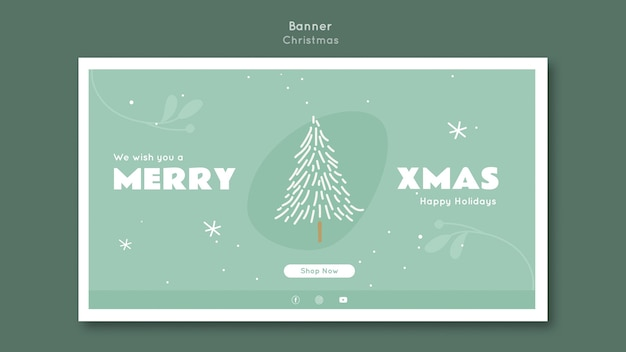 Баннер веселый рождественский шаблон Бесплатные Psd