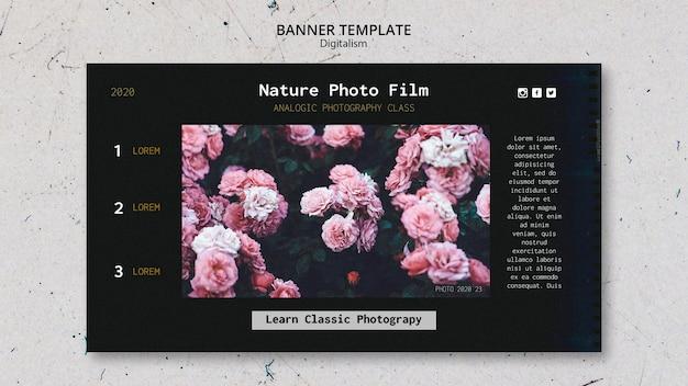 Modello di pellicola fotografica della natura della bandiera Psd Gratuite
