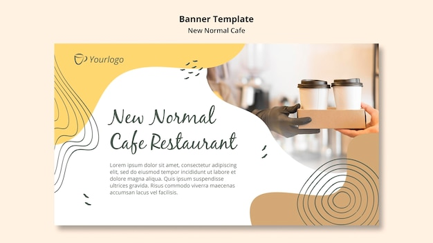 Banner new normal cafe ad template Free Psd
