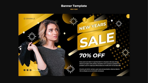 Banner new year template Free Psd