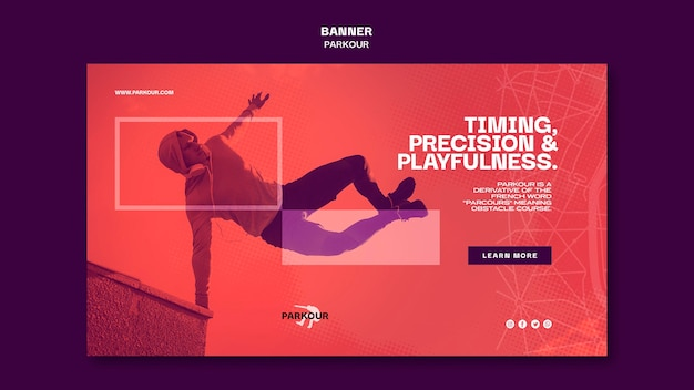 Banner parkour ad template Free Psd
