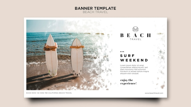 Banner of people holding surfing boards Free Psd