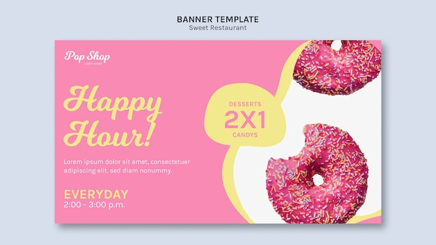 Banner for pop candy shop design Free Psd