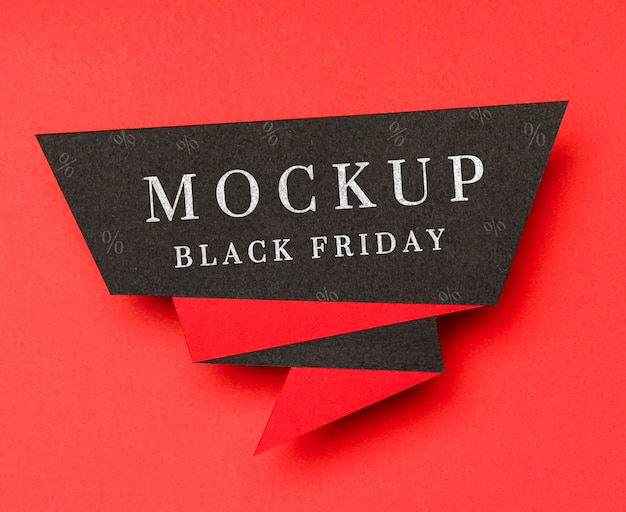 Banner on red background black friday sales mock-up Free Psd