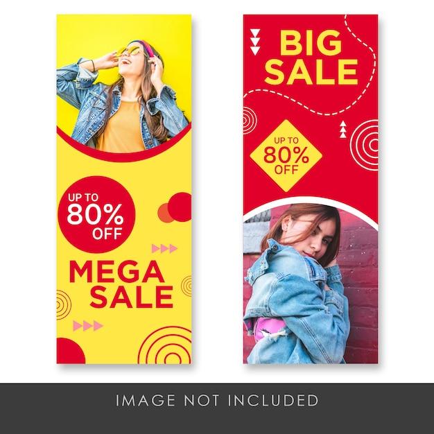 Banner rollup mega sale modern and fun template Premium Psd