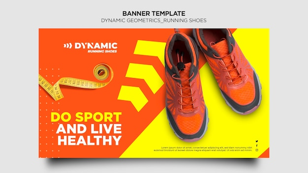 Banner running shoes template Free Psd