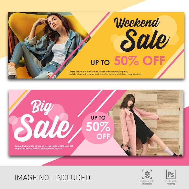 Banner sale pink and yellow template Premium Psd