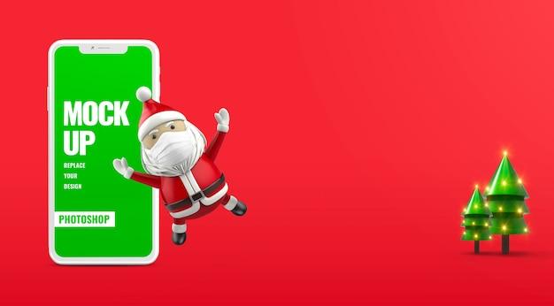 Баннер санта merry christmas реклама мобильный Premium Psd