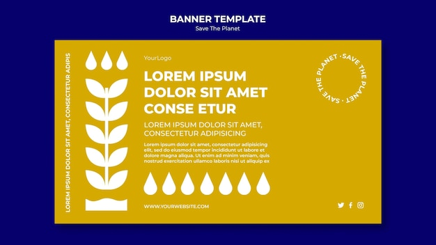 Banner save the planet template Free Psd