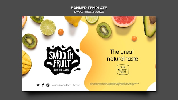 Banner smoothie bar template Free Psd