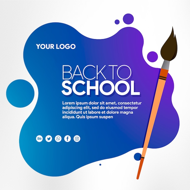 Banner social media back to school with brush Premium Psd