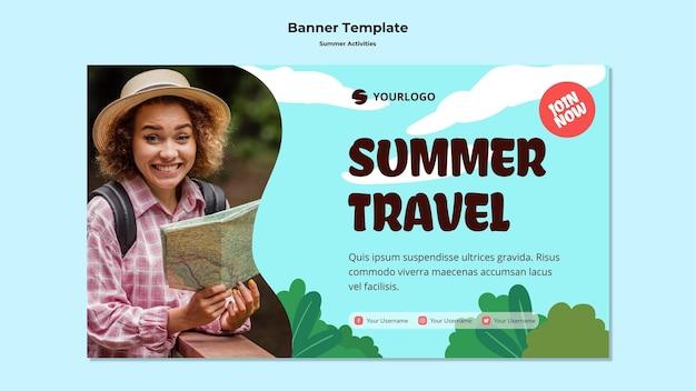 Banner summer travel template Free Psd