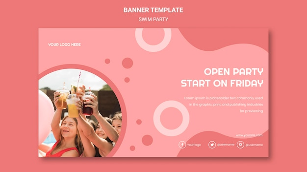 Banner swim party template Free Psd