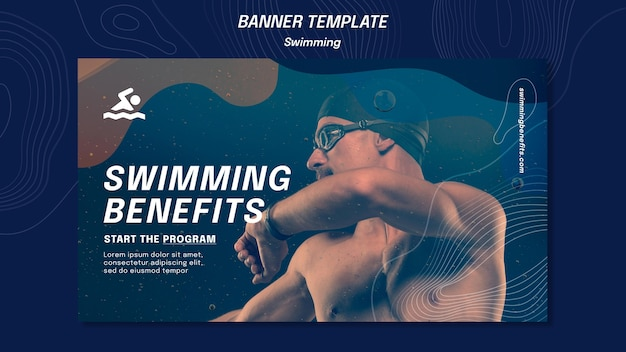 Banner swimming benefits template Free Psd