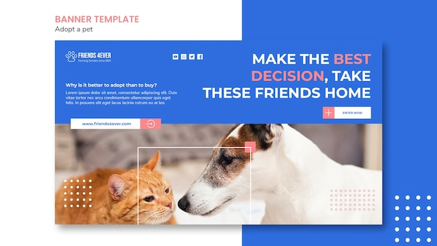 Banner template for adopting a pet with cat and dog Free Psd