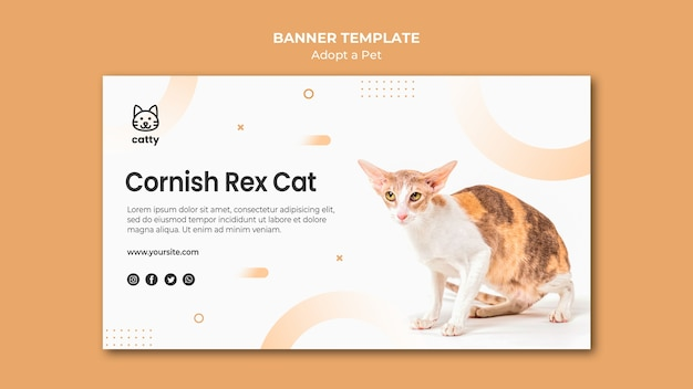Banner template for adopting pet with cat Free Psd