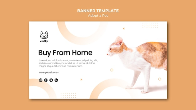 Banner template for adopting a pet Free Psd