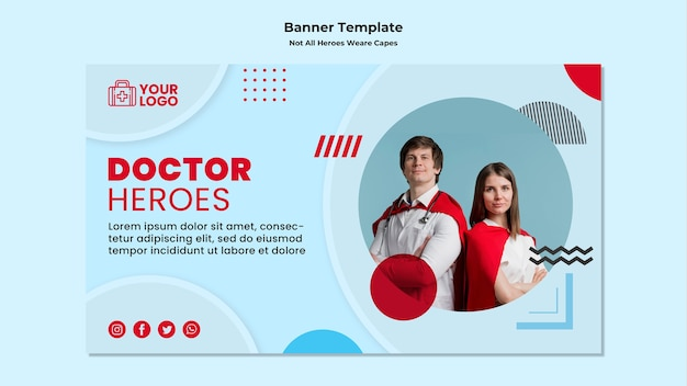 Banner template not all heroes wear capes Free Psd