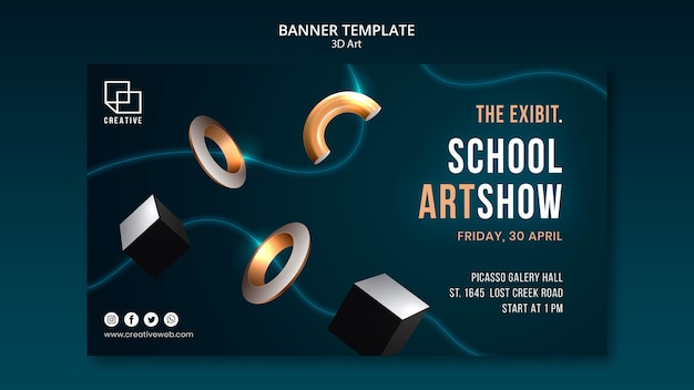 Banner template for art exhibition with creative three-dimensional shapes Free Psd