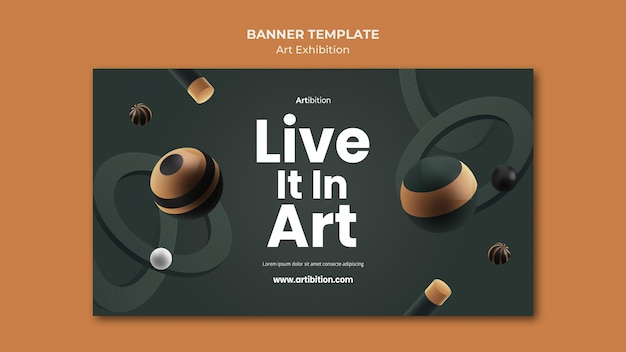 Banner template for art exhibition with geometric shapes Free Psd