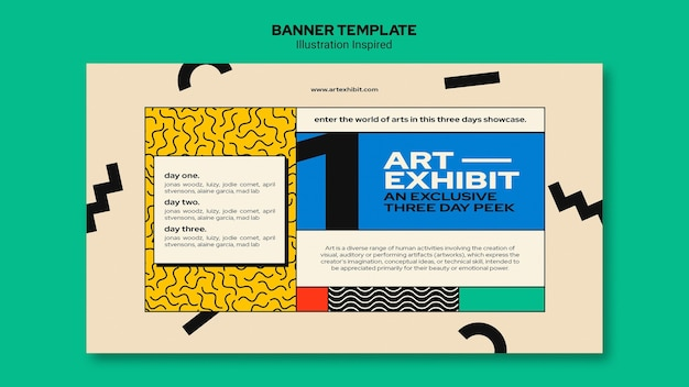 Banner template for art exhibition Free Psd