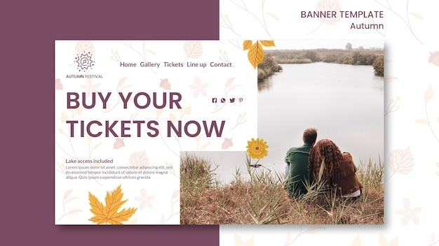 Banner template for autumn concert Free Psd