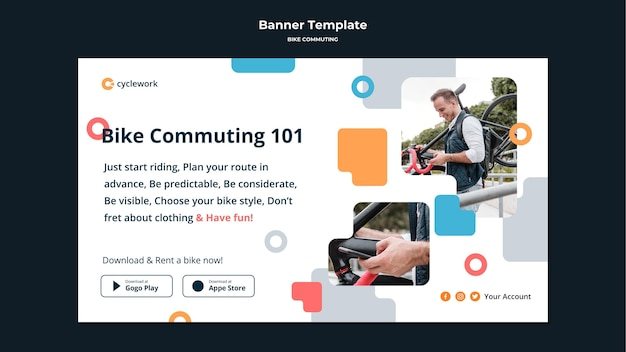 Banner template for bicycle commuting with male passenger Free Psd