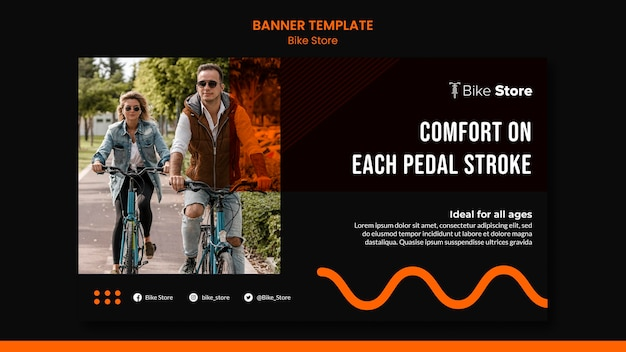 Banner template for bike store Free Psd