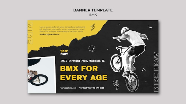Banner template for bmx biking with man and bicycle Free Psd