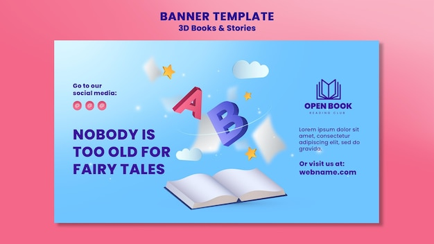 Banner template for books with stories and letters Free Psd