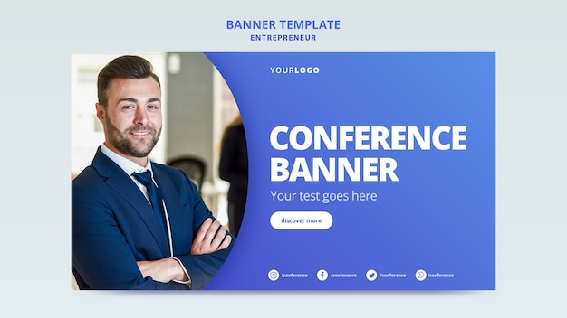 Banner template for business conference Free Psd