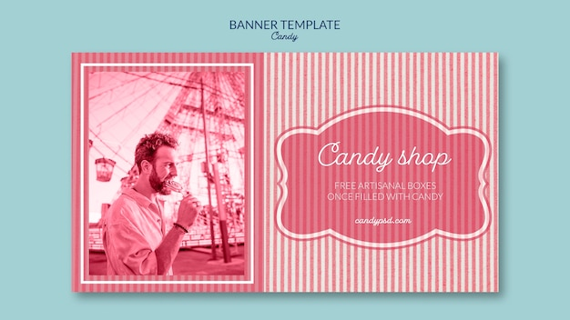 Banner template for candy shop with man and lollipop Free Psd