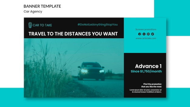 Banner template car agency ad Free Psd