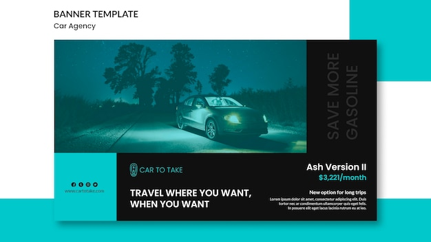 Banner template car agency promo Free Psd