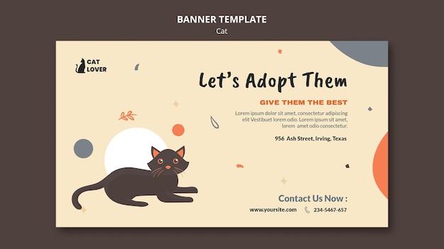 Modello di banner per l'adozione del gatto Psd Gratuite