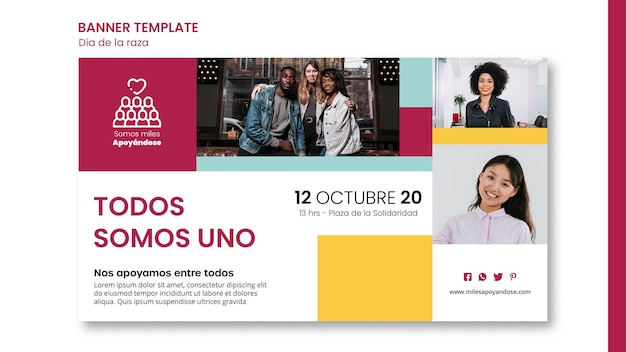 Banner template for columbus day celebration Free Psd