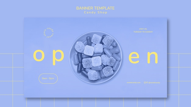 Banner template concept for candy shop Free Psd