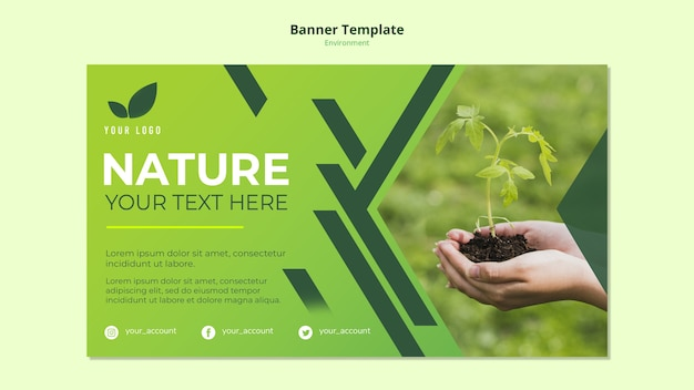 Banner template concept of green nature Free Psd