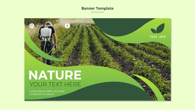 Banner template concept of nature environs Free Psd