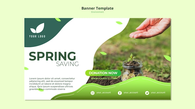 Banner template concept of spring savings Free Psd