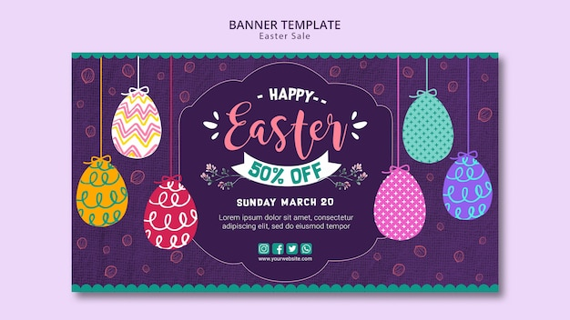 Banner template concept with easter sales Free Psd