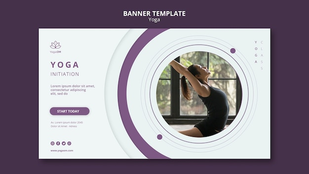 Banner template concept with yoga theme Free Psd