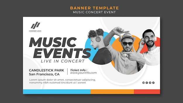 Banner template for concert Free Psd