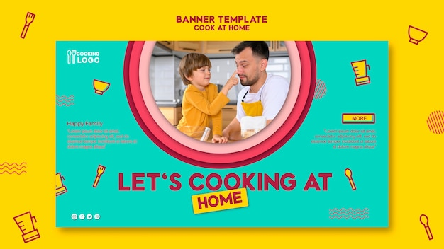 Banner Template For Cooking At Home Free Psd File